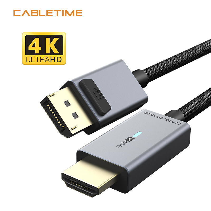 CABLETIME Displayport To HDMI Cable Blue Light Gold Plated HDMI2.0 4K/60Hz Adapter for PC Lenovo Dell Macbook Air N356(China)