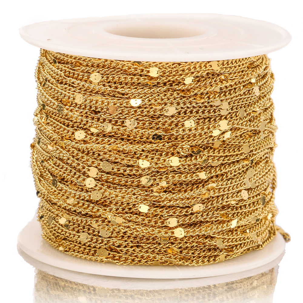 2Meter Width 1.5mm Stainless Steel Gold Press Rounding Chains for Earring Anklet Necklace Jewelry Making DIY Handcrafts Supplies