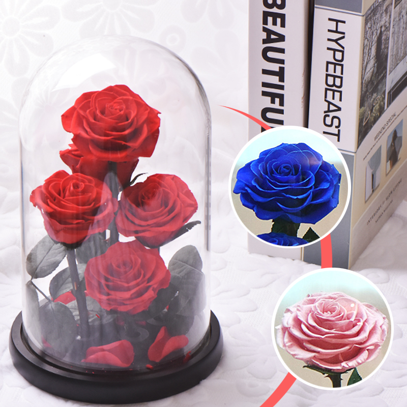 Image 5 - New Arrival Eternal Preserved Rose with Glass Dome 5 Flower Heads Rose Forever Love Wedding Favor Party Gifts for WomenArtificial & Dried Flowers   -