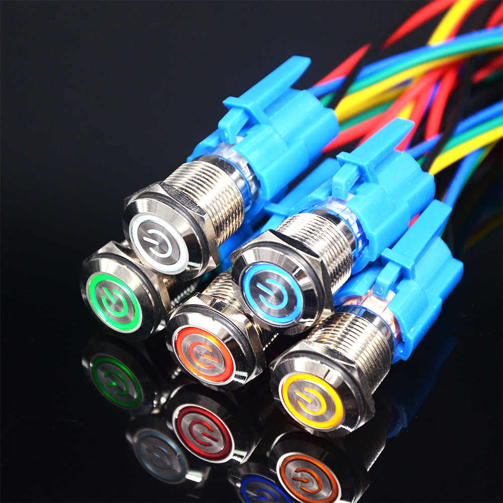 16mm Self-Locking Wasserdicht Metall Push-LED licht Taste Schalter 3V 5V 6V 12V 24V 110V 220V Rot Blau Grün Gelb Weiß