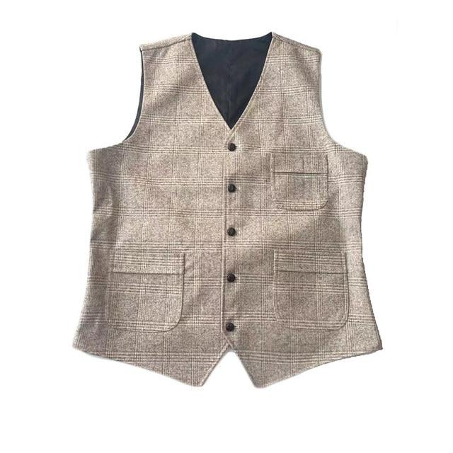 mens suit vests men brown black waistcoat vest man plaid steampunk jacket striped tweed v-neck slim fit gilet wedding clothing 6