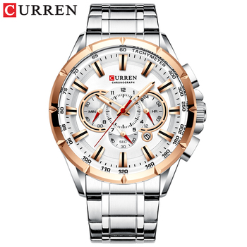 CURREN New Causal Sport Chronograph Men's Watches Stainless Steel Band Wristwatch Big Dial Quartz Clock with Luminous Pointers 16