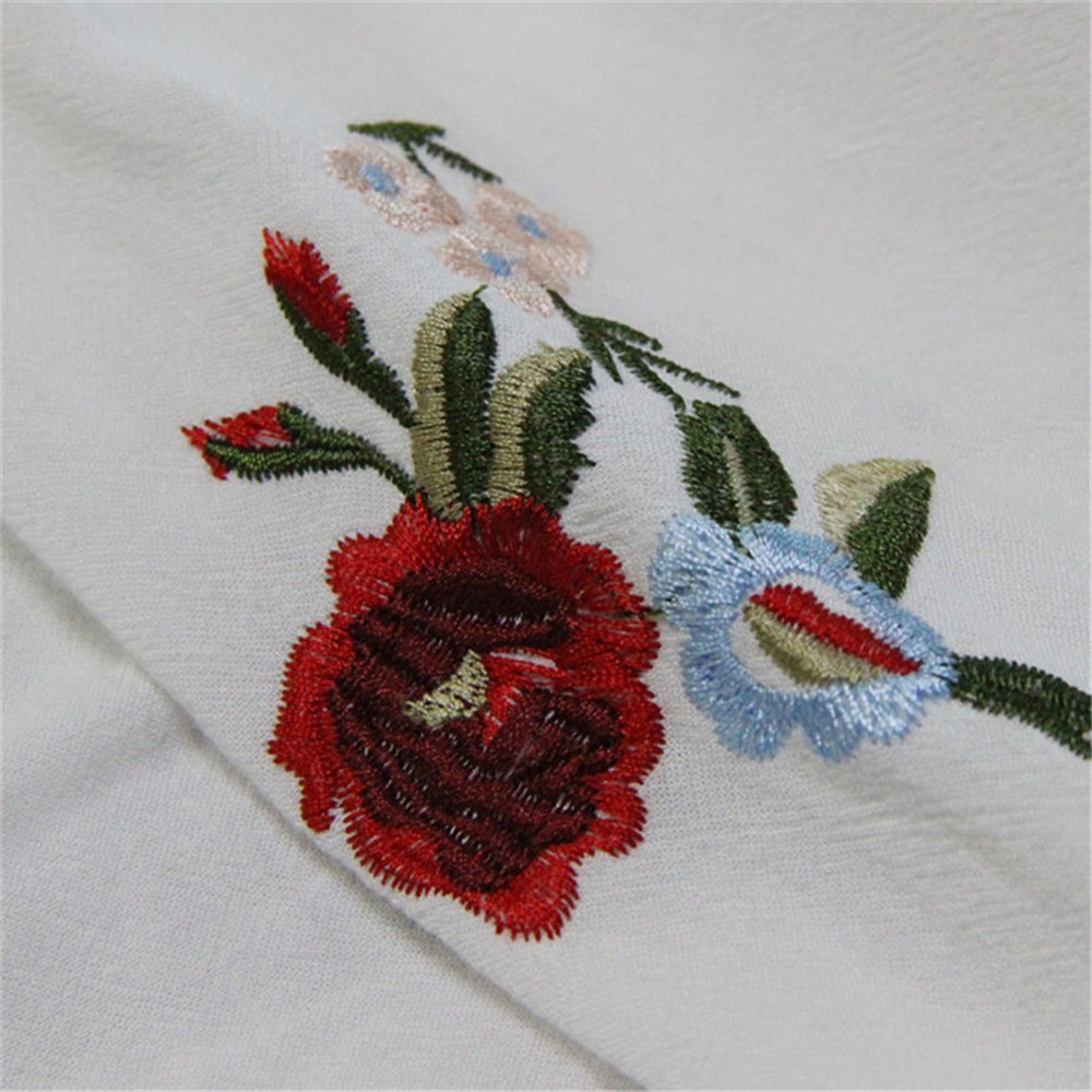 Spring 100% Cotton Women Loose Blouses Shirts 2020 Vintage Blusas O-Neck Flare Sleeve Floral Embroidery White Women`s Shirt 9260 (17)
