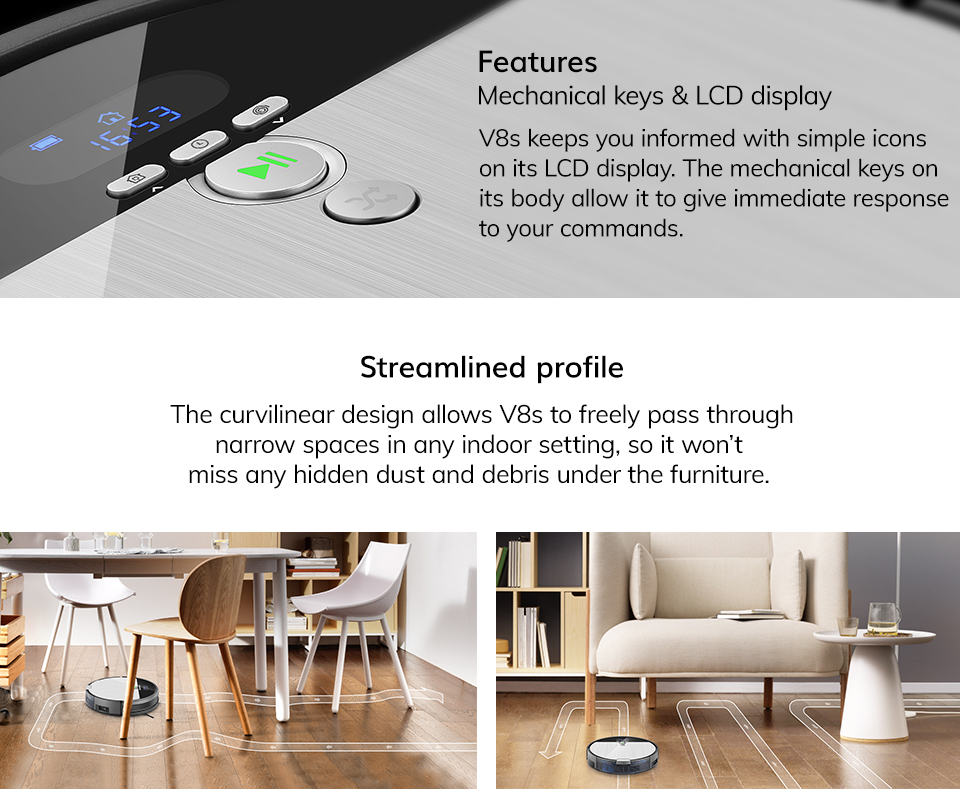 Ha8b0bf0e59fd45fc9dc13aa42cf2bfdcw ILIFE V8s Robot Vacuum Cleaner Sweep&Wet Mop Navigation Planned Cleaning large Dustbin large Water Tank Schedule disinfection