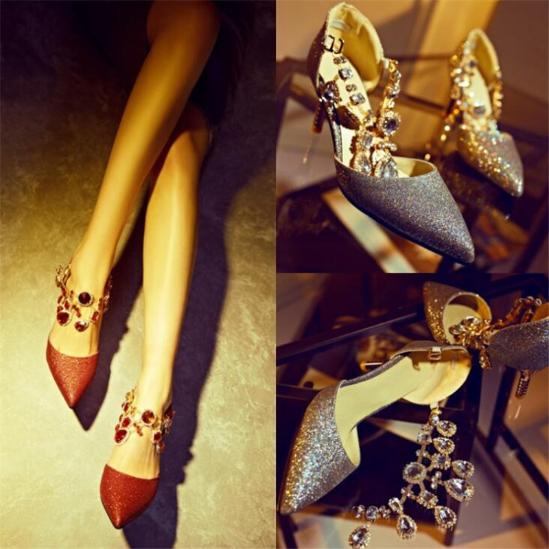 2019 new wedding shoes red rhinestone single shoes sequins pointed Korean high heels 33 43 yards pointed