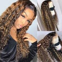 Destaque do laço frente perucas de cabelo humano ombre loira marrom encaracolado peruca brasileira não remy t parte peruca do laço pré arrancado peruca dianteira do laço
