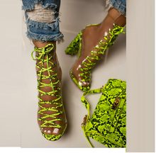Liren 2019 Summer PU Sandals Fashion Sexy Women Snake Pattern Party Cross-tied Lace-up Transparent High Square Heels