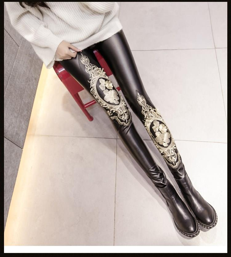Sexy Black Warm Leather Leggings Casual Lace Embroidery Velvet Faux Leather Leggins Mujer Women High Waist Pants