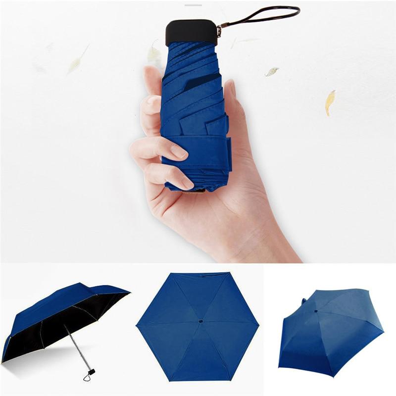 Plana Leve Umbrella Parasol Sol Dobrável Guarda-chuva Guarda-chuva Mini 50 dobrar luz plana bolso saco Resistente Ao Vento Dobrável A1