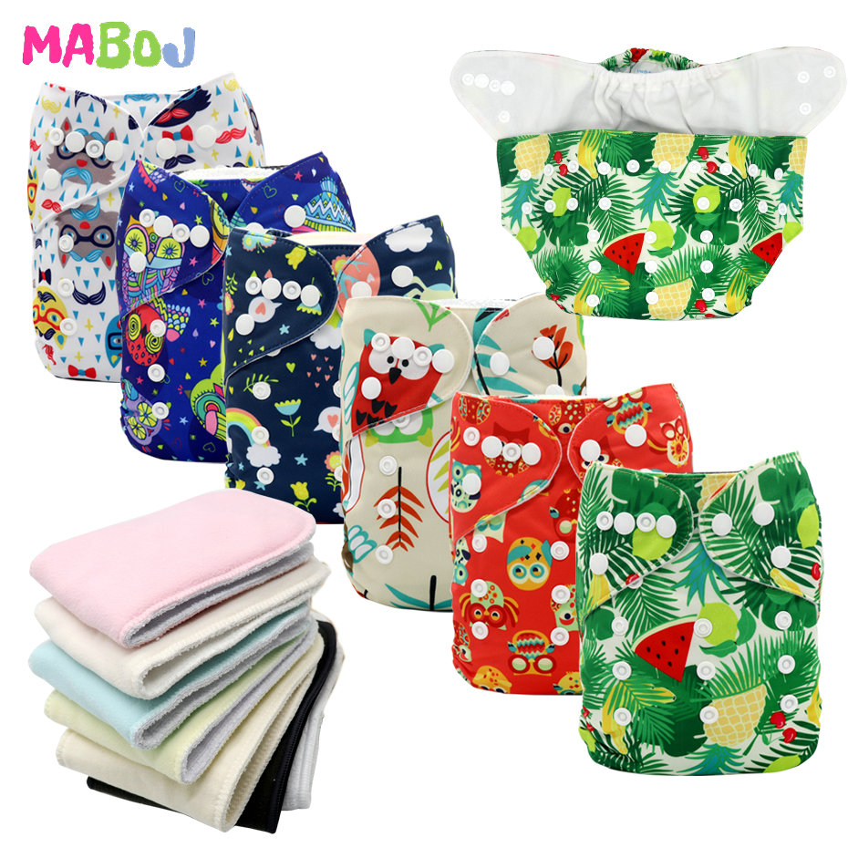 MABOJ Cloth Diapers Baby Washable Reusable Cloth Pocket Nappy Diaper Cover Wrap One Size Nappy Inserts Bamboo Cotton Microfiber
