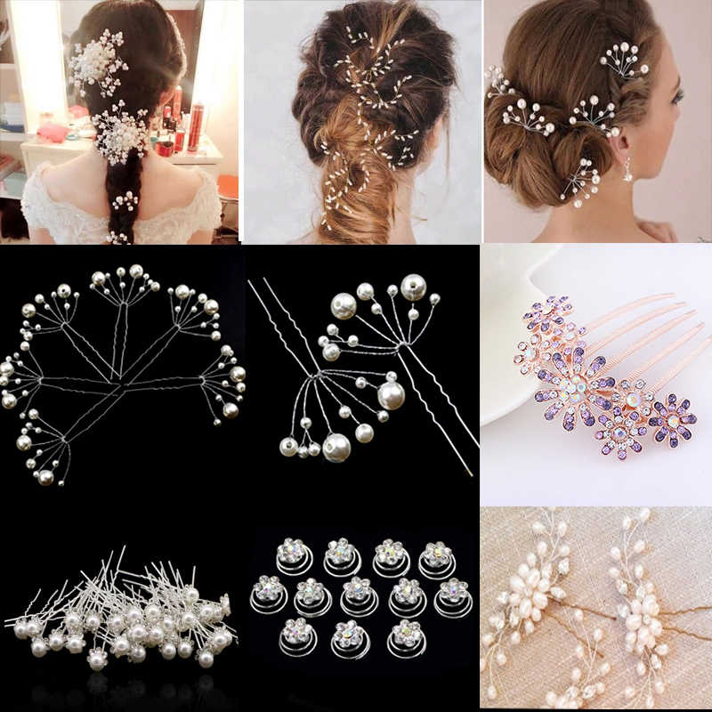 Women Wedding Bridal Hair Clip Bridesmaid Hairpin Crystal Pearl Rhinestone Clip