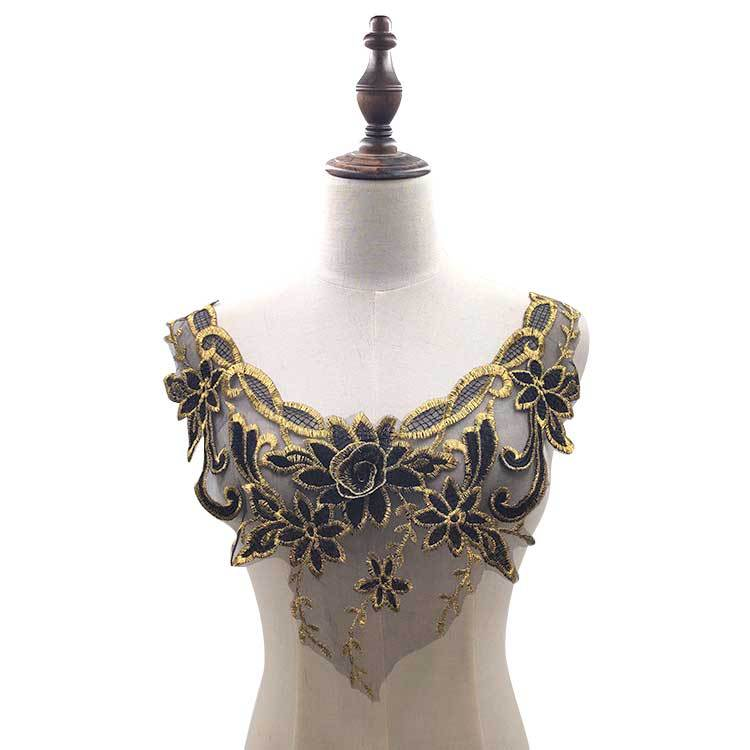 Water Soluble Lace Neckline Gold Thread Collar Mesh Bottom Embroidery Bust DIY Lace Accessories Black Gold