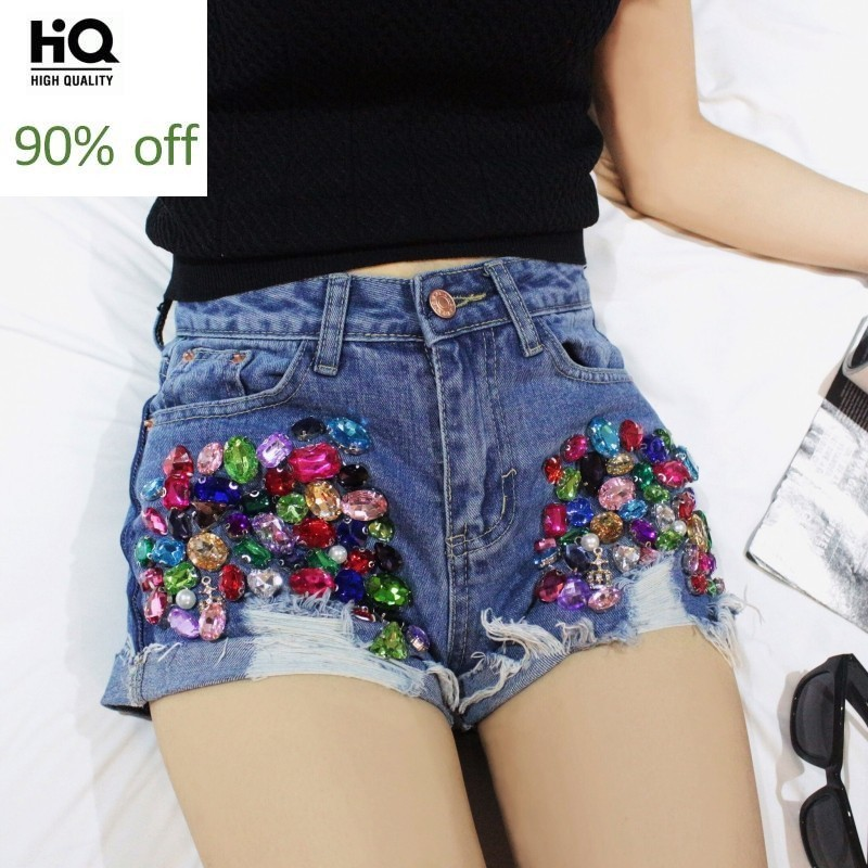 2020 Summer Embroidered Flares Denim Shorts Women Hole Ripped Tassel Diamonds Short Jeans Streetwear White Blue Zip Hot Pants
