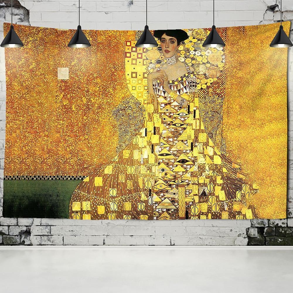 Gustav Klimt yağlıboya resim goblen duvar asılı öpücük altın soyut sanat dekorasyon Polyester battaniye Yoga Mat ev yatak odası sanat