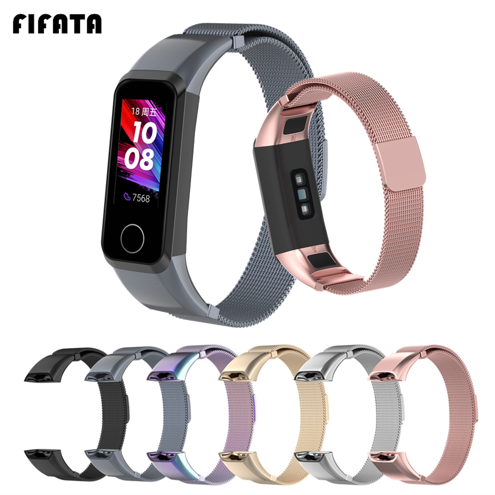 FIFATA For Honor Band 5i Smart Bracelet Strap For Huawei Band 4 Milanese Metal Watchbands Replacement Wrist Strap For Honor 5i