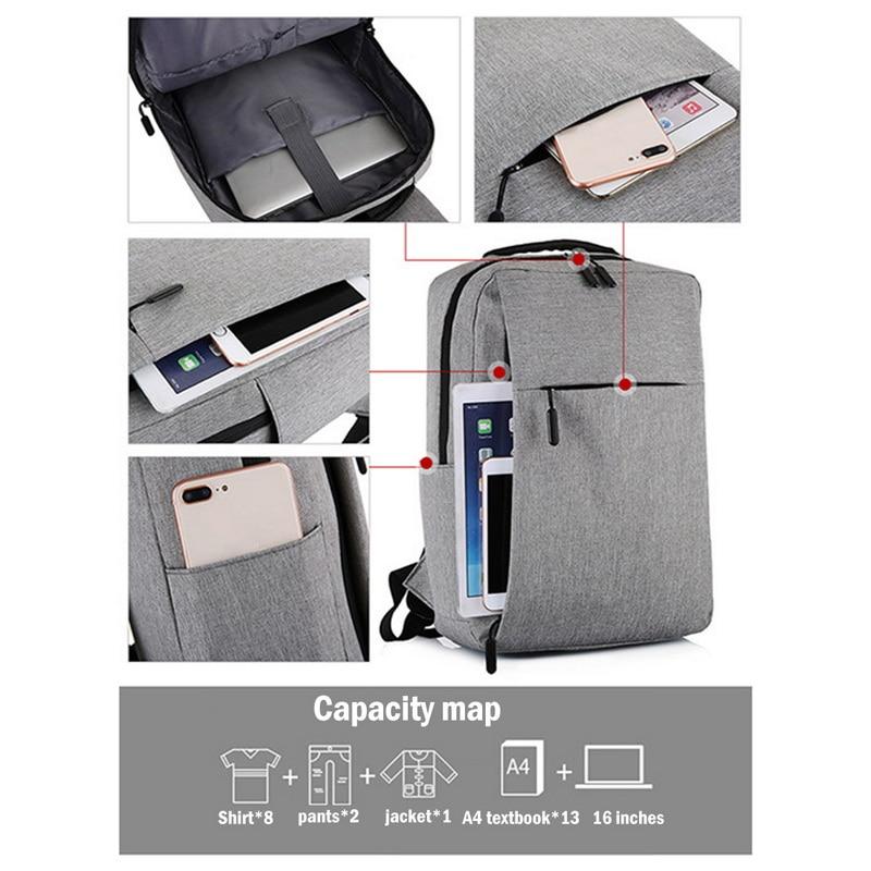 Bolsa para laptop de 17 polegadas portátil anti-roubo bolsa escolar mochila masculina de viagem casual com carregamento USB 6