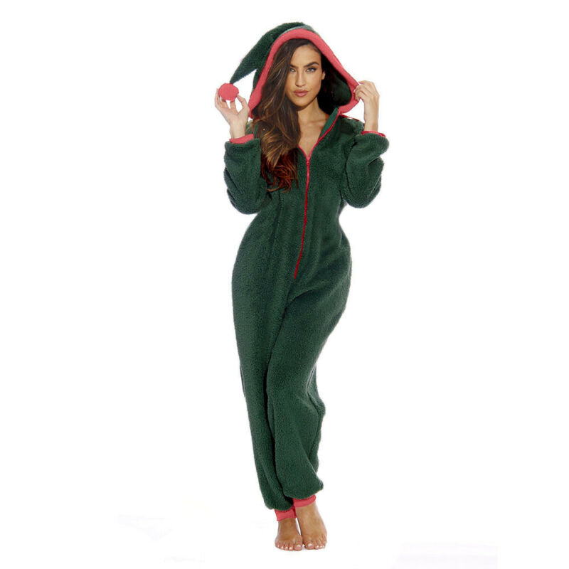 Women Bodysuit Zip Hooded Christmas Clown Hat Pajamas Santa Sleepwear Home Plush Jumpsuit Female Winter Casual Overalls Ladies