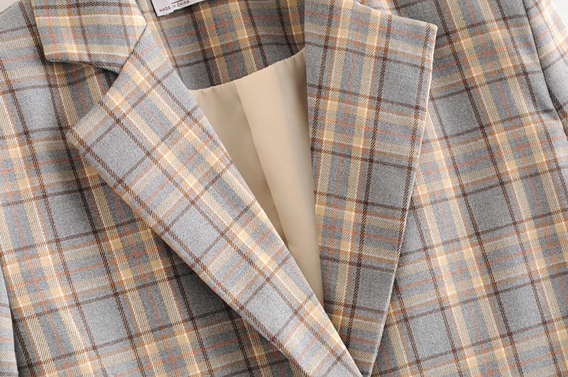 2020 New Vintage Women's Plaid Elegant Suit, Notched Collar Jacket, Casual Women's Pockets, Suit Girl, Chic Jacket