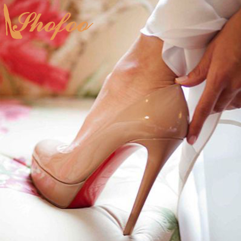 Nude Red Bottom Women Stilettos High Heels Pumps Pointed Toe Slip On Large Size 11 14 Ladies Fashion Mature Patent Shoes Shofoo