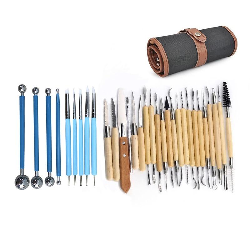 Artes artesanato argila escultura conjunto de ferramentas modelagem escultura kit ferramentas cerâmica & cerâmica lidar com madeira modelagem ferramentas de argila