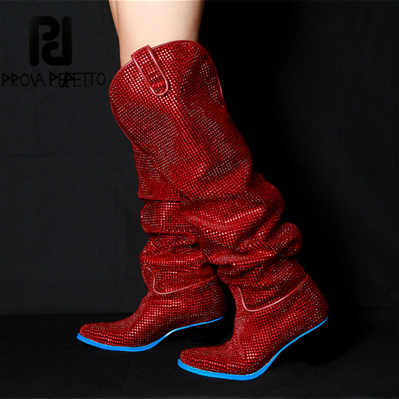 Prova Perfetto Rhinestone Decoration  Over Knee Long Tube Bottes Femme  Low Heel Platorm Boots  Women Waterproof Genuine Leather