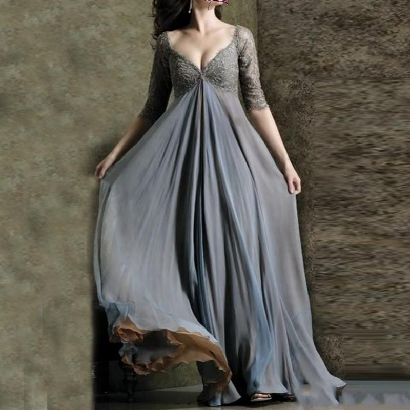 Gray Evening Dresses Chiffon V Neck Evening Dresses With Sleeves Formal Gowns Vestido Longo 2019 Party Dress Robe De Soiree