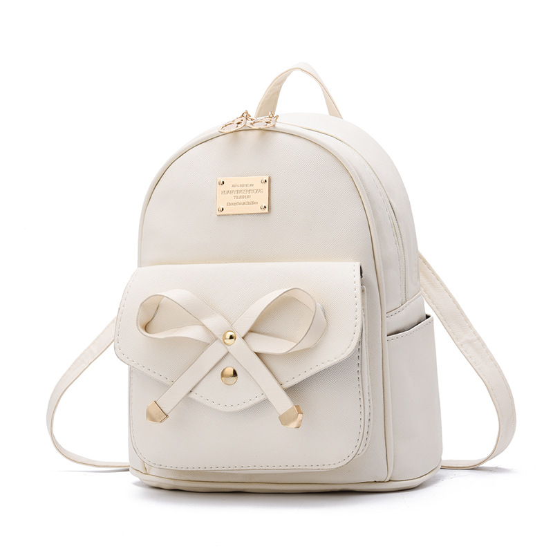 Fashion Women PU Leather Bowknot Backpack Teenager Girls Travel Daypack Casual Solid Shoulder Bag Student Simple School Bags New