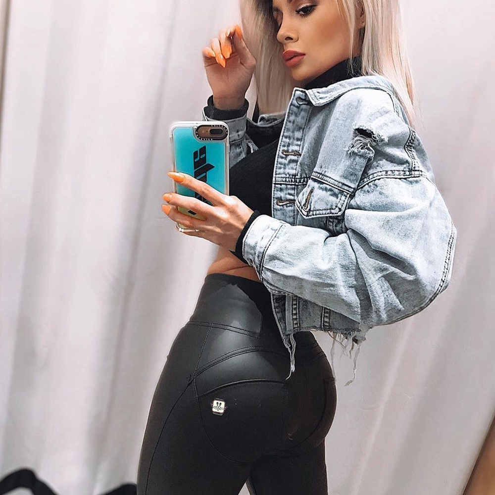 Melody High Waisted Leather Pants Womens Eco Leather Skinny Full Length Warm Winter Black Zipper Fly Womens Clothing Push Up