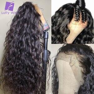 5x4.5 perucas de base de seda remy brasileiro 13x6 frente do laço perucas de cabelo humano onda de água pré arrancado glueless 180 densidade para mulher luffy