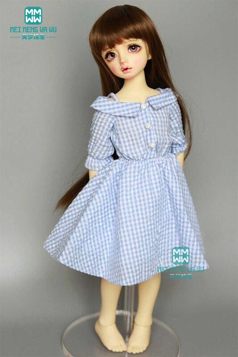 Roupas para boneca caber 1/4 MSD BJD GEM, XAGADOLL boneca moda sling saia xadrez azul, vermelho, azul escuro