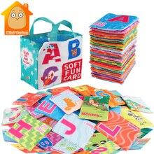הכי חדש כרטיסיות למידה שפה תינוק ספר צעצוע 26PCS רך האלפבית כרטיסי עם בד תיק תינוקות אנגלית קריאת ספרים