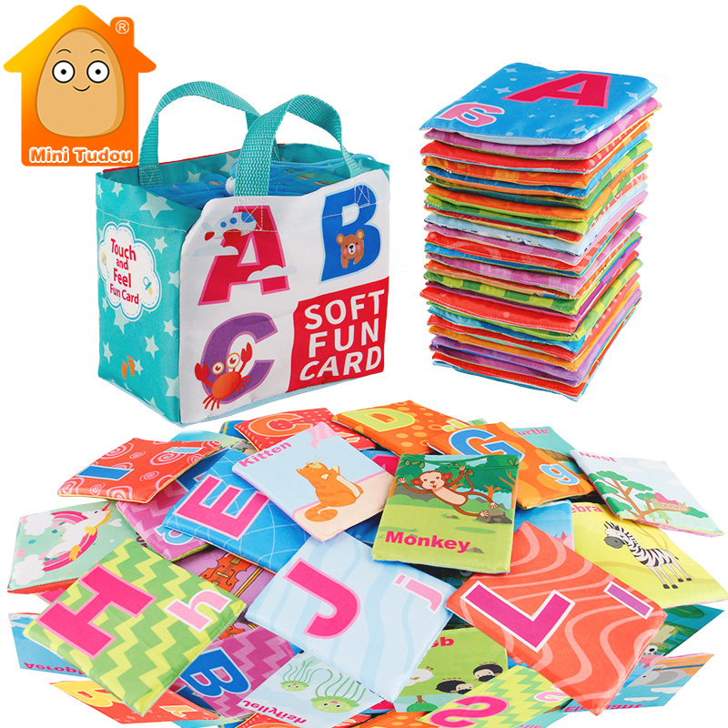 Newest Flashcards Learning Resource Baby Book Toy 26PCS Soft Alphabet Cards With Cloth Bag Babies English Reading Books    -