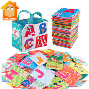 Newest Flashcards Learning Resource Baby Book Toy 26PCS Soft Alphabet Cards With Cloth Bag Babies English Reading Books