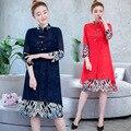 Foto Schießen 3520 #2019 Herbst-Verbesserte Cheongsam Elegante Gedruckt Slim Fit Abnehmen Mid-länge Baumwolle Leinen Kleid