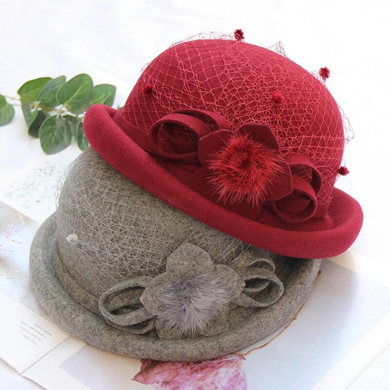 American Fashion  Wool Hat Net Yarn Flowers Shaping Top Hat Women Autumn  Winter Curled Brim round Crown Felt Cap Bucket Hat