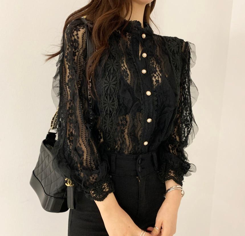 Ha8b26340060b49d9a1652e768c4c3ff8W - Spring / Autumn Stand Collar Long Sleeves Crochet Flower Lace Blouse