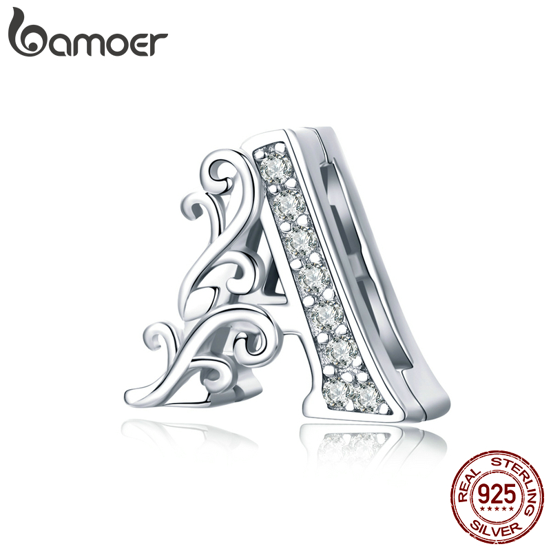 Bamoer Real 925 Sterling Silver Letter Alphabet A Clip Beads Charms Fit Reflexions Bracelets DIY Jewelry Accessories SCX111
