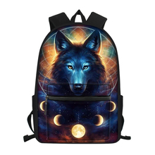 HaoYun Childrens School Canvas Backpack Fantasy Wolf Pattern Students Book Bags Cute Animal Fashion Kids Travel Backpacks