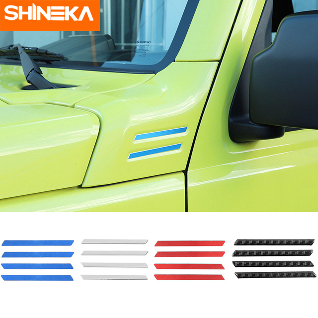 SHINEKA Carbon Fiber Sticker Car A pillar Corner Decorative Cover for Suzuki Jimny 2019 2020 Aluminum Alloy Exterior Accessories