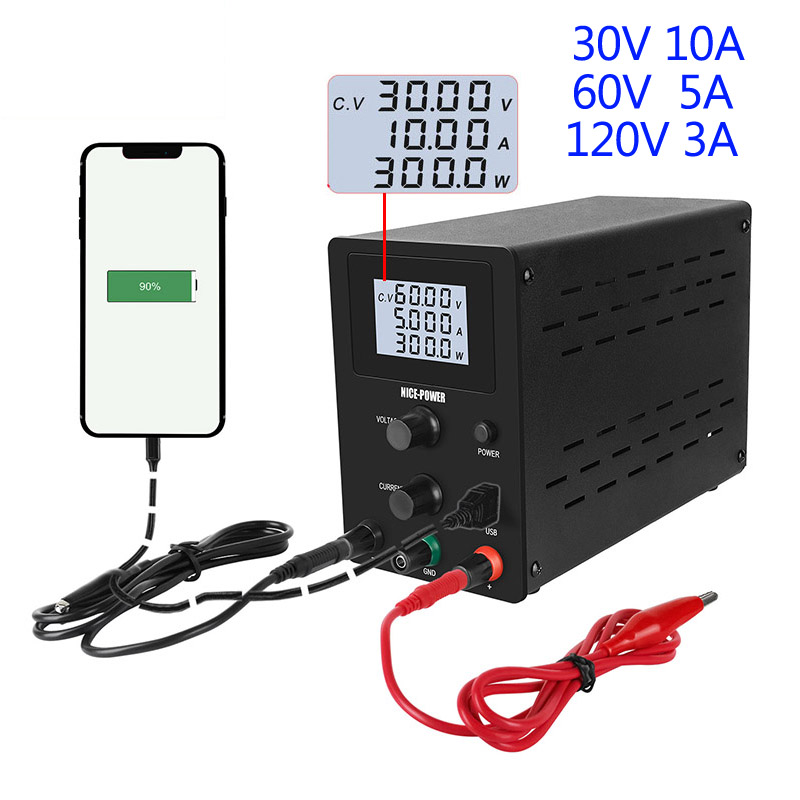 LCD DC lab switching power supply 30 V 10A laboratory adjustable power supplies 120v 3a voltage regulator with usb bench source image