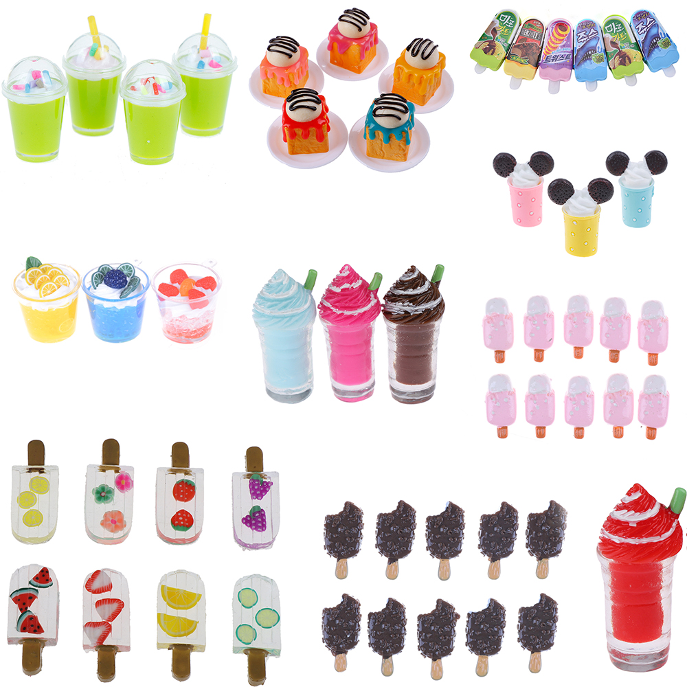 1/2/5Pcs Cute Dollhouse Miniature Drink Ice Cream Cups Model Pretend Play Mini Food Play House Kitchen Toy Doll Accessories