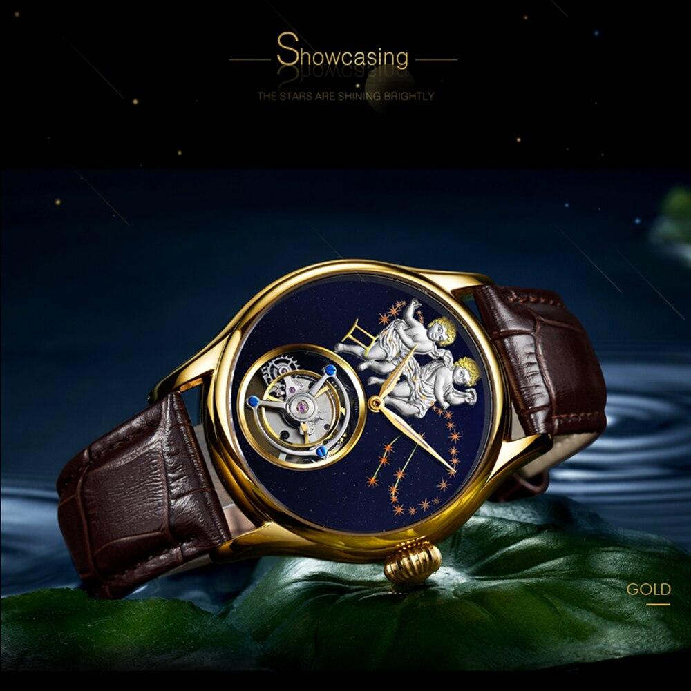 GUANQIN 2019 Real Tourbillon Mechanical Hand Wind Mens Watches Top Brand Luxury Gemini Clock men Gold Sapphire Relogio Masculino 17