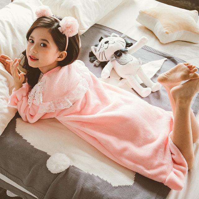 Girl's Warm Cute Princess Nightgown Pajamas