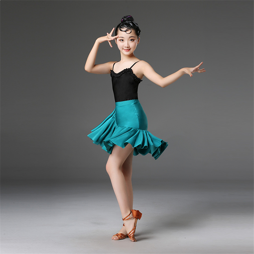 Kids Dresses For Girls Latin Ballroom Dance Competition Costumes Stage Performance Fringe Gatsby Tassel Tango Skirt Clothing