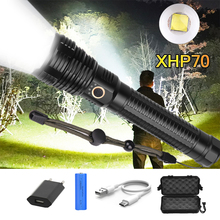 Super Powerful LED Flashlight USB Rechargeable XHP70 LED Flashlight Waterproof Zoom Torch Use 18650 26650 Battery