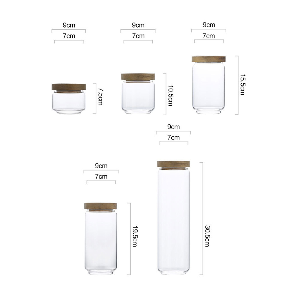 Wooden Lid Candy Jar High Borosilicate Transparent Glass Storage Tank Durable Food Grain Container For Seasoning Spice Candy in Bottles Jars Boxes from Home Garden