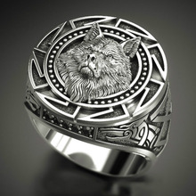 Thai Silver Ring Warrior Wolf Totem Viking Nordic Men Vintage 925 Mythology 7-12 Men's