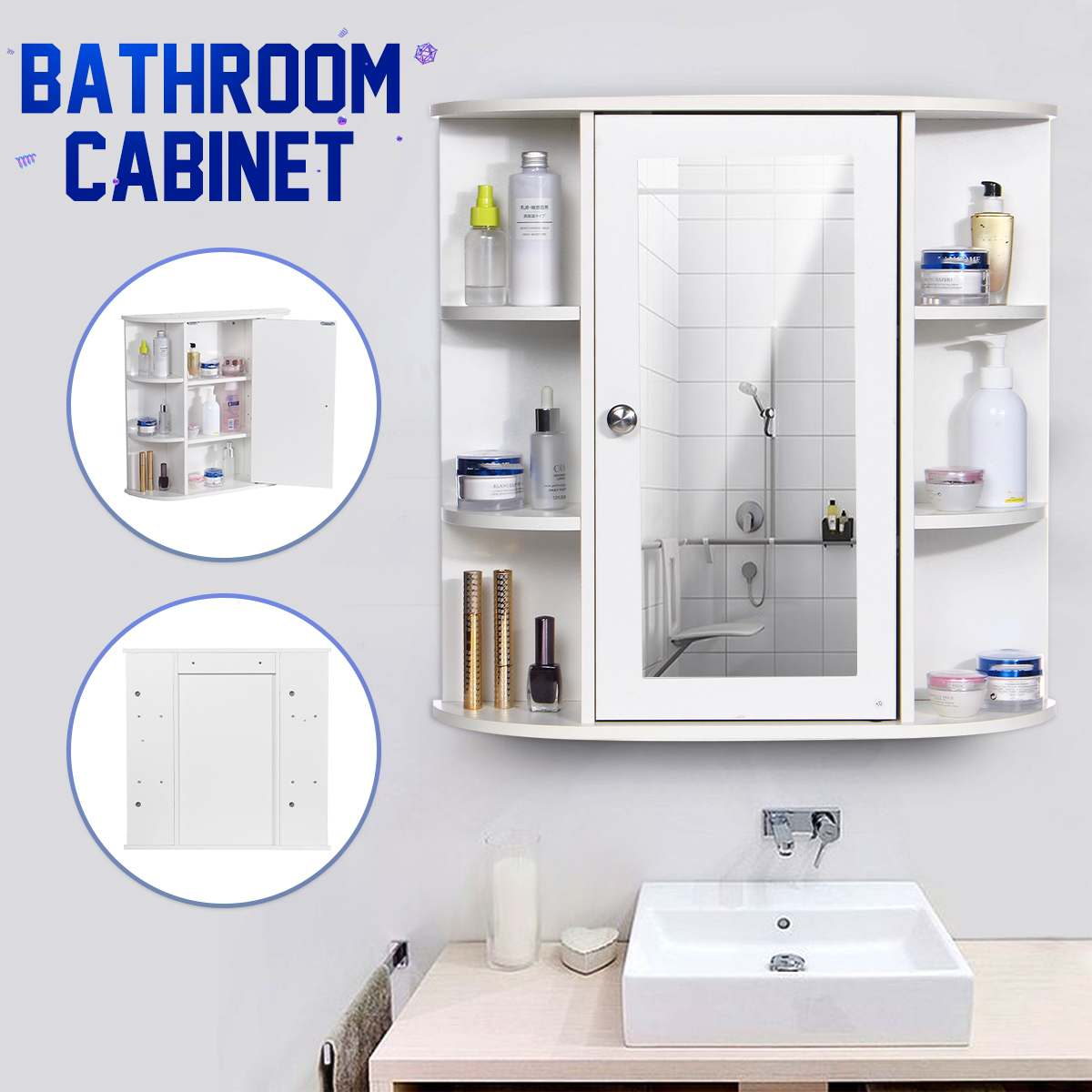 Bathroom Cabinet With Mirror 58 X 60 X 16.5cm Wall Mounted Bathroom Toilet Furniture Cabinet Cupboard Shelf Cosmetic Storager
