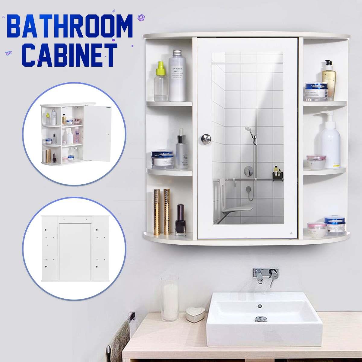 Bathroom Cabinet With Mirror 58 X 60 X 16.5cm Wall Mounted Bathroom Toilet Furniture Cabinet Cupboard Shelf Cosmetic Storager