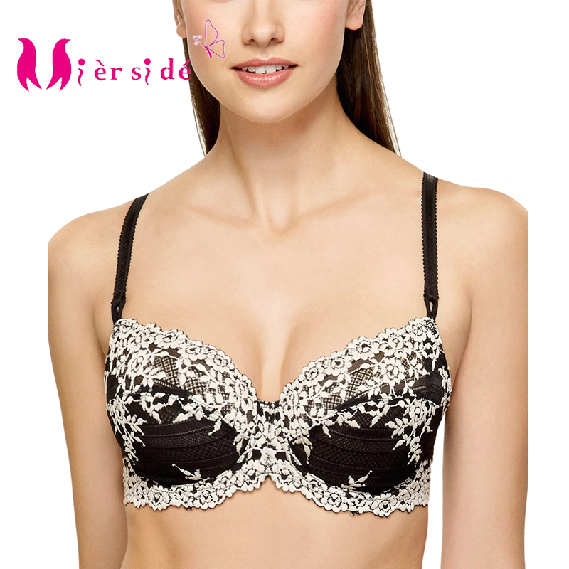 Mierside <font><b>S</b></font>-187B Transparent White Embroidered Flower Black Lace Bra Minimizer <font><b>Sexy</b></font> Women Lingerie 34/36/38/40 A/B/C/<font><b>D</b></font> image
